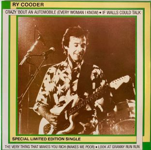 "Ry Cooder ‎- Crazy 'Bout An Automobile (Every Woman I Know) (12"") (VG/VG)"